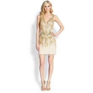 Gold Beaded Aidan Mattox Dress Size 2